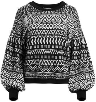 Alice + Olivia Hazel Blouson-Sleeve Sweater
