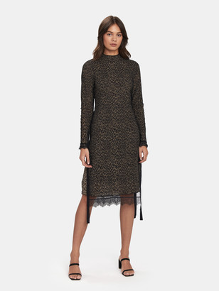 AllSaints Kiara Linleo Lace Trim Midi Dress