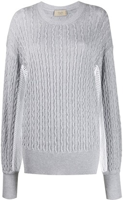 Maison Flaneur Patterned Knit Mesh Detail Jumper