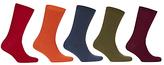 John Lewis Bright Plain Rib Socks, Pack Of 5, Multi