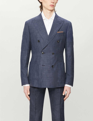 Reiss Potosi wool, silk and linen-blend double-breasted jacket