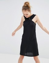 Monki Cross Front Ribbed Dress