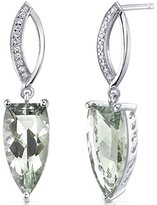 Peora Half Marquise Cut 6.00 Carats Amethyst Earrings in Sterling Silver Rhodium Finish