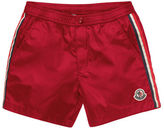Moncler Striped Snap-Front Swim Trunks, Size 2-3