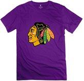 Yisw Men Chicago Blackhawks Logo T-Shirt M Unique Sport Apparel