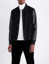 Bally Logo-embroidered wool and leather jacket