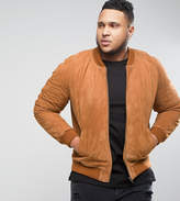 Asos Plus Suede Bomber Jacket In Tan