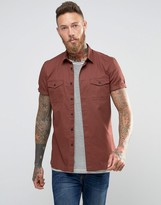 Asos Military Shirt in Rust With Short Sleeves