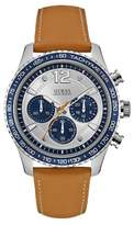 GUESS W0970g1 gents` leather strap sport watch
