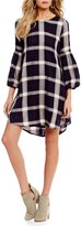 Copper Key Plaid Blouson Sleeve Tie-Back Dress