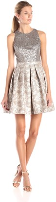 Aidan Mattox Aidan Women's Embellished Bead and Sequin Cocktail Dress with Printed Fit and Flare Detail