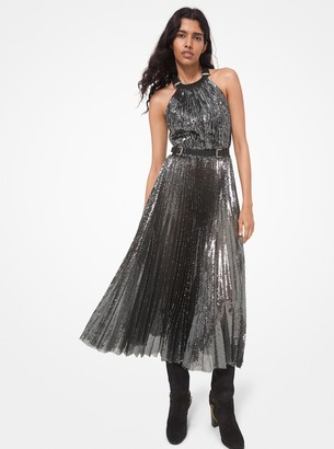 Michael Kors Collection Leather Trim Sequined Tulle Dress