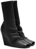 Rick Owens Peep-toe Leather Wedge Boots