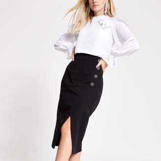 River Island Womens Petite Black embellished pencil midi skirt