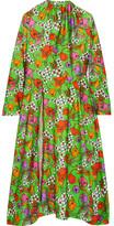 Balenciaga Floral-print Stretch-satin Midi Dress - Green