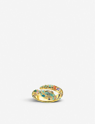 Thomas Sabo Magic Garden yellow gold-plated and abalone snake ring
