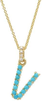 Jennifer Meyer Turquoise Cabochon Initial Necklace - Yellow Gold