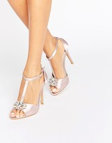 True Decadence T-Bar Light Pink Embellished Heeled Sandals