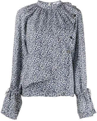 Derek Lam 10 Crosby Long Sleeve Asymmetric Mini Paisley Draped Blouse with Snaps