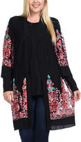 Bellino Black & Rose Abstract Open Cardigan - Plus