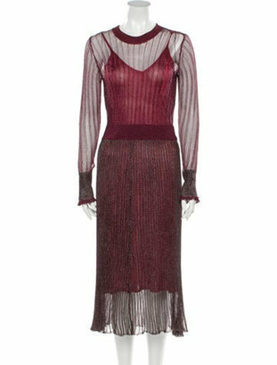 Herve Leger Lace Pattern Midi Length Dress w/ Tags Red