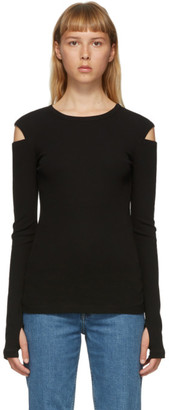 Helmut Lang Black Rib Slash Long Sleeve T-Shirt