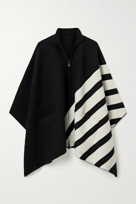 Akris Reversible Striped Cashmere Cape - Black
