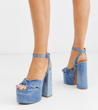 ASOS DESIGN Wide Fit Water chunky platform bow heeled sandals in denim