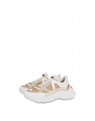 Love Moschino Glitter And Mesh Sneakers With Heart Woman Beige Size 35 It - (5 Us)