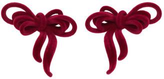 SHUSHU/TONG Red YVMIN Edition Velvet Bow Earrings