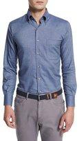 Peter Millar Buffalo Melange Long-Sleeve Oxford Shirt