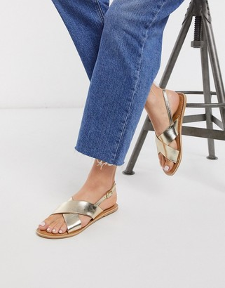 Rule London leather flat sandals in gold