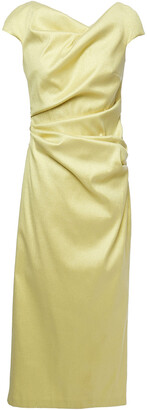 Talbot Runhof Gathered Metallic Twill Midi Dress