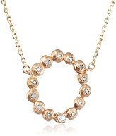 Cherry Brown 10 ct Yellow Gold Rosecut Diamond Open Circle Necklace of Length 40 cm