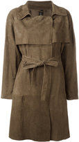 Giorgio Brato belted trench coat - women - Leather - 42