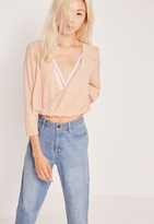 Missguided Wrap Front Contrast Bind Blouse Nude