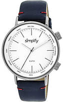 Simplify Navy Leather Strap Watch