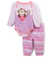 Buster Brown African Violet & Sachet Pink Monkey Bodysuit & Joggers - Infant