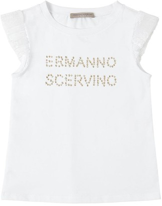 Ermanno Scervino Embellished Cotton Jersey T-Shirt W/Lace