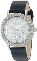 SO&CO New York Women's 5216L.2 Madison Quartz Crystal Accent Dial Day and Date GMT Navy Genuine Leather Strap Watch
