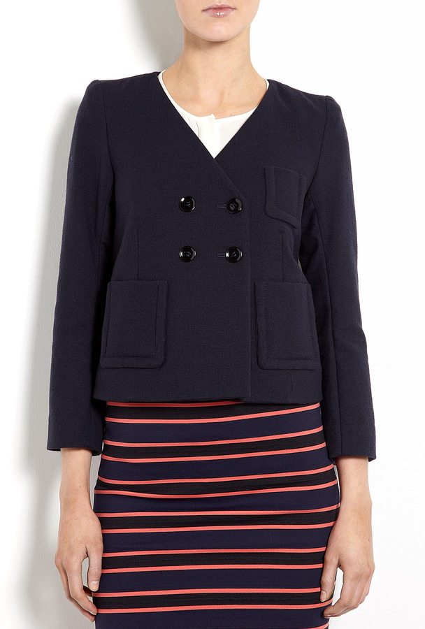 Sonia Rykiel Sonia by Collarless Four Button Cropped Jacket