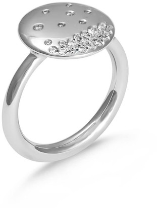 Hargreaves Stockholm Eclipse 18ct Gold & Diamond Pave Disc Ring