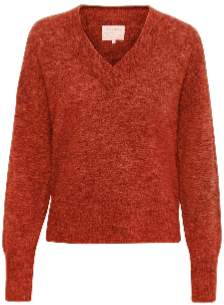 Part Two - Coral V Neck Pico Sweater - xs