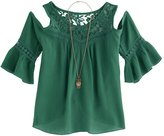 Knitworks Girls 7-16 Cold Shoulder Bell Sleeve Top with Necklace