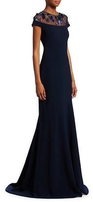 Theia Embellished Yoke Mermaid Gown