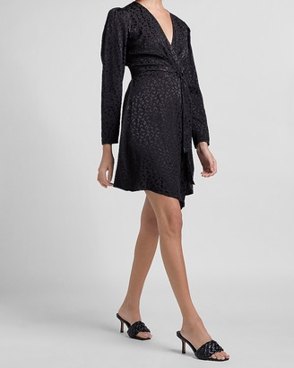 Express Leopard Jacquard Puff Sleeve Wrap Dress