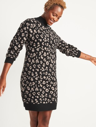 Old Navy Leopard-Print Mock-Neck Sweater Shift Dress for Women