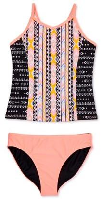 Wonder Nation Girls Lined Tankini And Reversible Bottoms Swimsuit, UPF 50+, Sizes 4-18 & Plus
