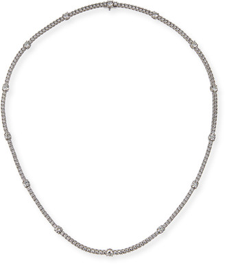 Memoire Diamond Line 18k White Gold Tennis Necklace