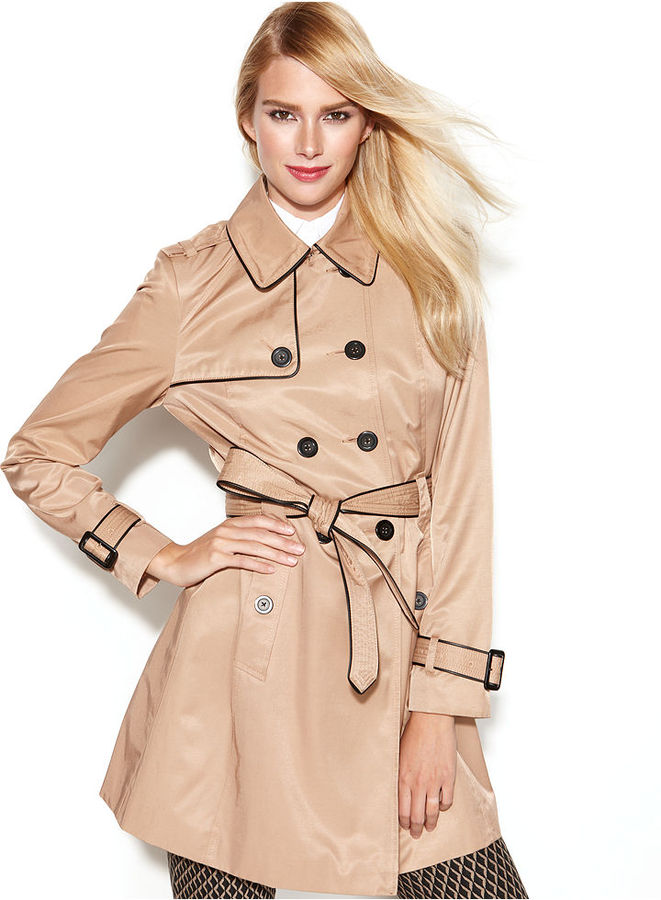 INC International Concepts Coat, Faux-Leather-Trim Belted Trench Coat